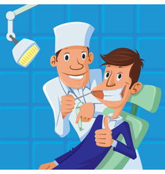 dentist and patient vector image vector image