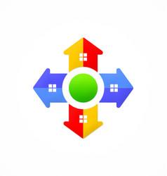 Home arrow direction game logo vector