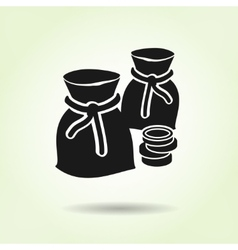 Money icon Sacks of coins Currency symbol Black vector image vector image