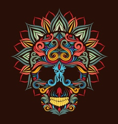 Skull and Lotus Flower vector image vector image