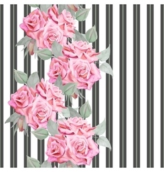 Watercolor red roses seamless pattern with stripes vector image vector image