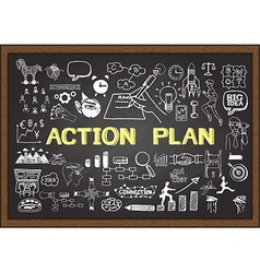 Action Plan on chalkboard vector image