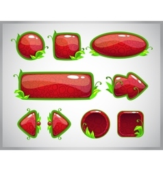 Cartoon red glossy buttons with nature elements vector image
