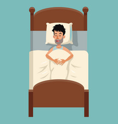 cartoon tousled man sleep in bed vector image