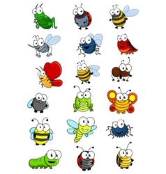 Cartooned insects set vector image vector image