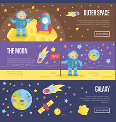 collection of space theme cartoon web banners vector image
