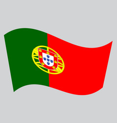 flag of portugal waving on gray background vector image