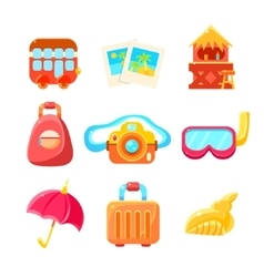 Travelling Related Objects Colorful Simple Icons vector image vector image