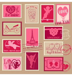 Valentines Day Stamps vector image