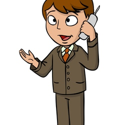 Cartoon businessman talking cell phone vector image vector image