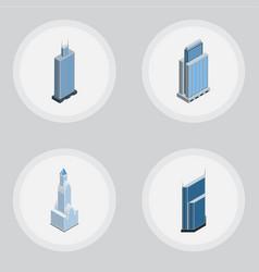 Isometric skyscraper set of residential cityscape vector