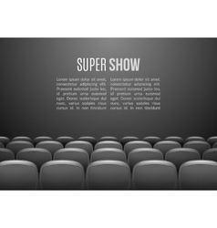 Movie theater with row of gray seats premiere vector