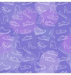 Shoes line icon seamless pattern vector image
