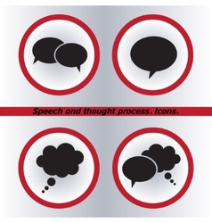 Speech bubble icons black icon Flat design style vector image
