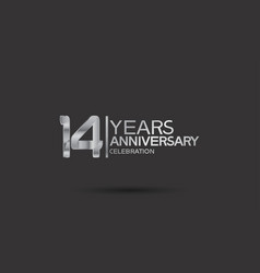 14 years anniversary logotype with silver color vector
