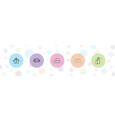 5 camping icons vector