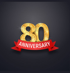 80 th years anniversary logo template eightieth vector