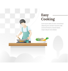 A man cooks food in kitchen vector