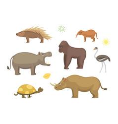 African animals cartoon set vector