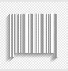 Bar code sign white icon with soft shadow vector