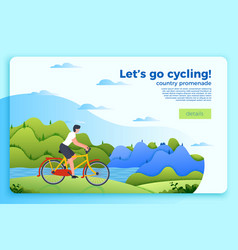 Bicycle ride banner with man on a bike vector