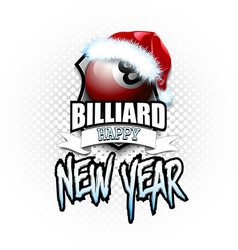 billiard ball with santa hat and happy new year vector image