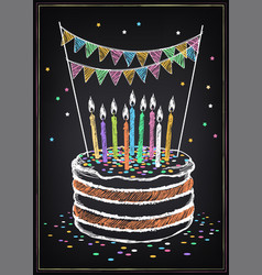 birthday cake with candle festive decorations vector image