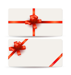 blank gift cards template with red bows and vector image