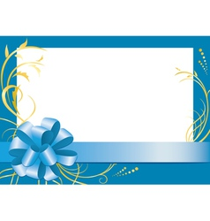 blue floral frame with white center vector image