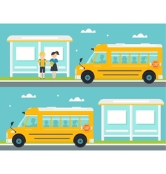 Boy and Girl Waiting for School Bus at Bus Stop vector