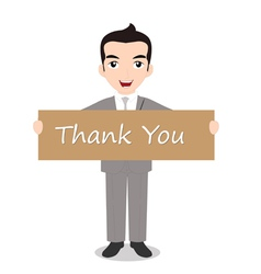 Businessman holding Thank you note vector image vector image
