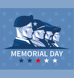 Card with a faces american soldiers memorial vector