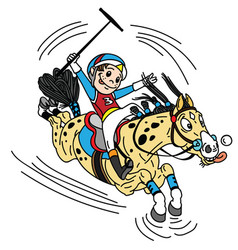 cartoon equestrian polo vector image