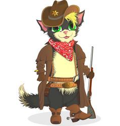 Cat cowboy sheriff wild west vector