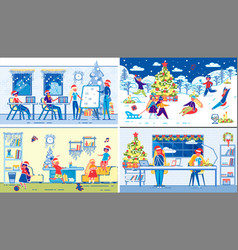 children winter christmas holidays leisure set vector image