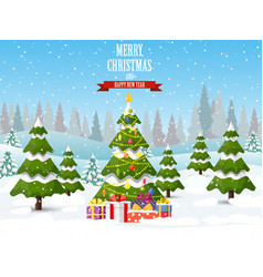 christmas tree on the background vector image