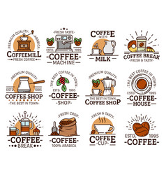 Coffee cups and mugs espresso machine grinder vector