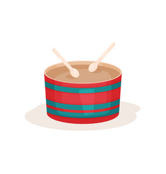Colorful drum and two wooden sticks percussion vector