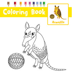 Coloring page standing armadillo with ball vector
