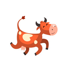 Cute happy brown spotted cow jumping funny farm vector