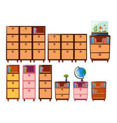 Different design bookshelves vector