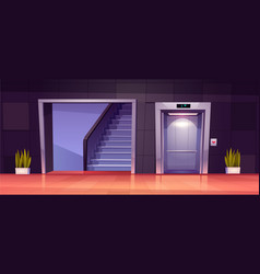 empty hallway interior with elevator and stairs vector image