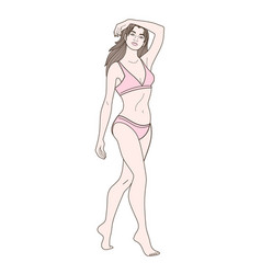 European slim woman in underwear vector