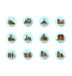 factories round flat blue icons set vector image