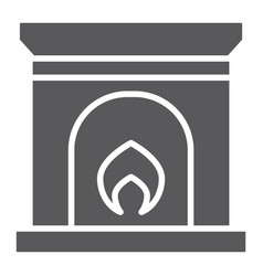 Fireplace glyph icon home and interior fire sign vector