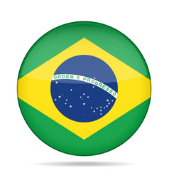 Flag of brazil shiny round button vector