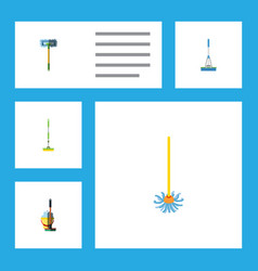 Flat icon mop set of equipment cleaning vector