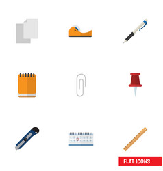 Flat icon tool set of knife sticky fastener page vector