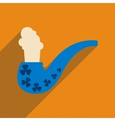 Flat web icon with long shadow smoking pipe vector