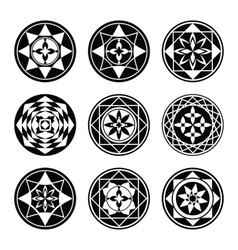 Floral ornament tattoo set Flowers in star aster vector